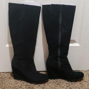 Nine West round toe wedge heel boots